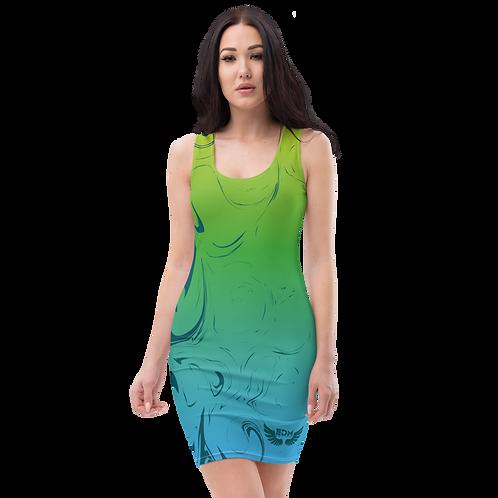 Body Con Dress - EDM J to F Green/Blue Gradient Swirl - Dark Green