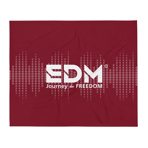 Fleece Throw Blanket - 50 x 60cm - EDM J to F Sound bars -Burgundy / White