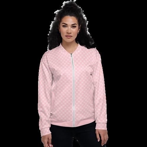 Women's Unisex Fit Bomber Jacket-EDM Journey to Freedom  Pattern Baby Pink/White