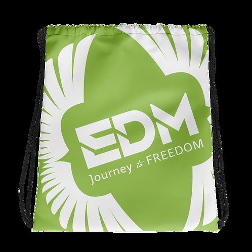 Light Green Drawstring Bag - EDM Journey to Freedom Large Print - White