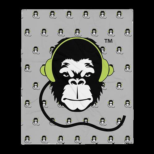 Fleece Throw Blanket - GS Music Academy Ape DJ Large & Pattern - Grey