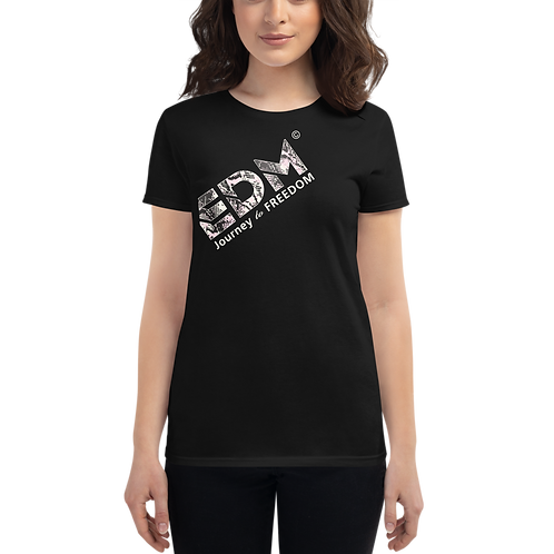 Women's short sleeve T-shirt - EDM J to F Snake Print Text Logo - Black