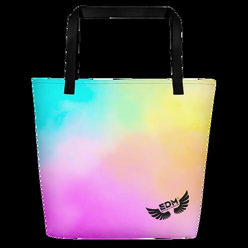 Beach Bag - Tye Dye Pastels- EDM J to F Logo - Black