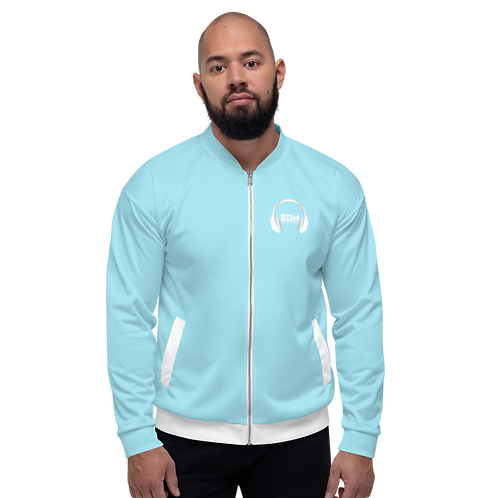 Men's Unisex Fit Bomber Jacket - EDM J to F - Sky Blue / White DJ Style