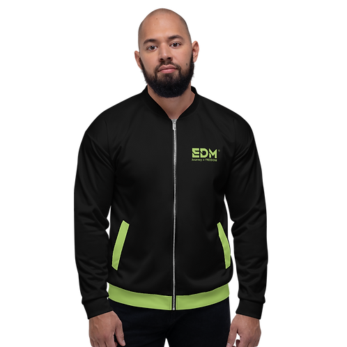 Mens Unisex Fit Bomber Jacket - EDM Journey to Freedom Black / Green