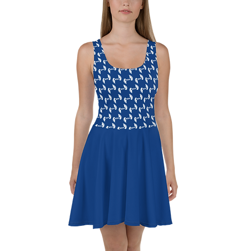 Royal Blue Skater Dress EDM Journey to Freedom Top Pattern Print - White