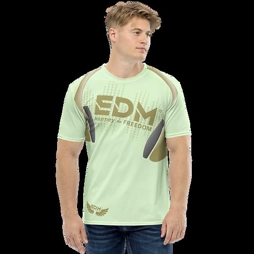 Men's T-shirt - EDM J to F Headphones - Gold/Mint