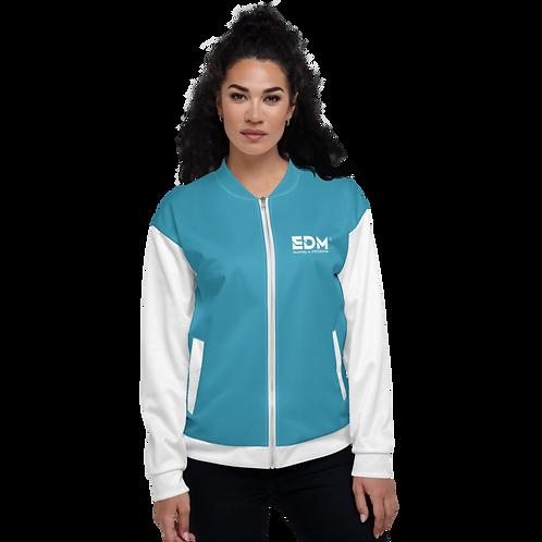 Womens Unisex Fit Bomber Jacket - EDM Journey to Freedom White / Teal Blue