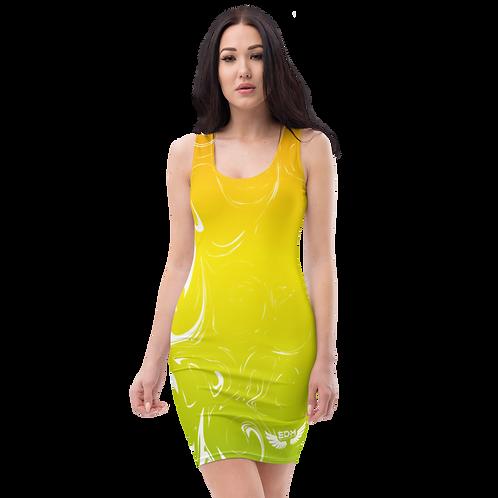 Body Con Dress - EDM J to F Yellow/Orange/Green Gradient Swirl - White