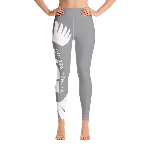 Women's Yoga Leggings Grey - EDM Journey to Freedom Print Style 2 - White
