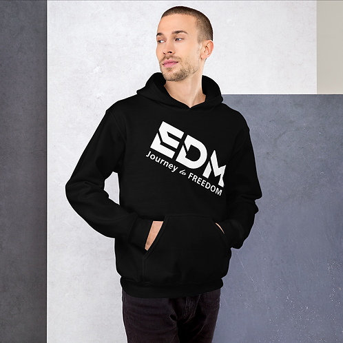Mens Unisex Hoodie EDM J to F Logo White - Various