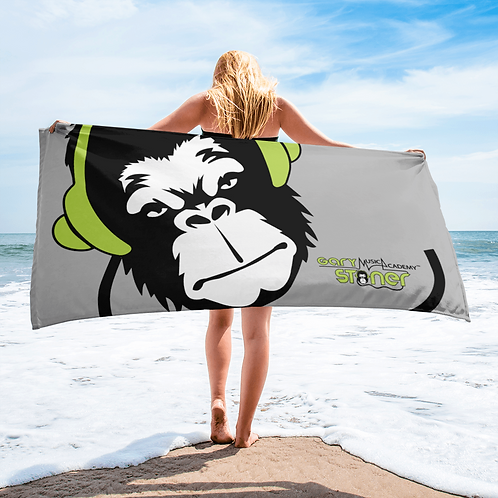 Beach Towel / Towel - GS Music Academy Ape DJ Green - Grey