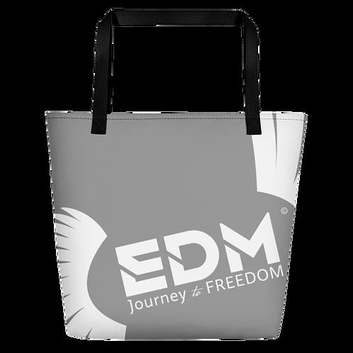 Beach Bag - Grey EDM Journey to Freedom Print - White