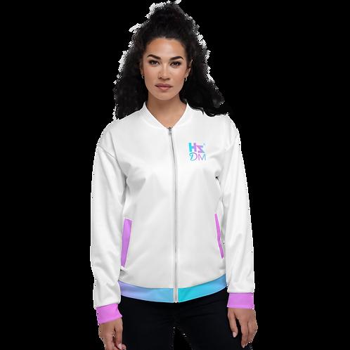 Women's Unisex Fit Bomber Jacket - HS Design & Music Multi Gradient Logo - White