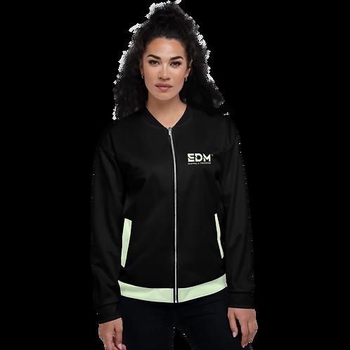 Womens Unisex Fit Bomber Jacket - EDM Journey to Freedom Black / Mint