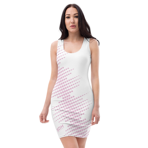 Body Con Dress - EDM J to F Sound Bars Pink - White