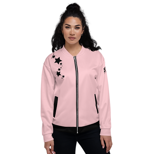 Women's Unisex Fit Bomber Jacket - EDM J to F - Baby Pink Black Star