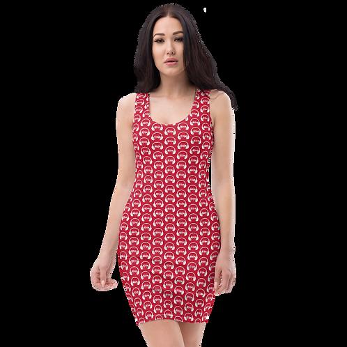 Body Con Dress - EDM J to F Headphone Dark Red - Grey