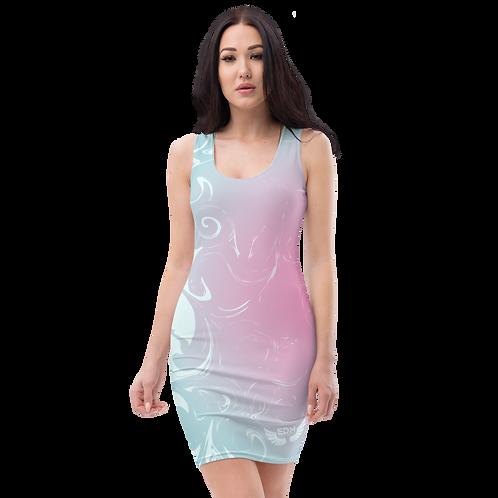 Body Con Dress - EDM J to F Pink/Blue Circle Gradient Swirl - Ice Blue