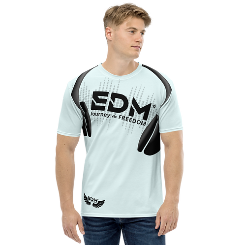 Men's T-shirt - EDM J to F Headphones Black - Ice Blue