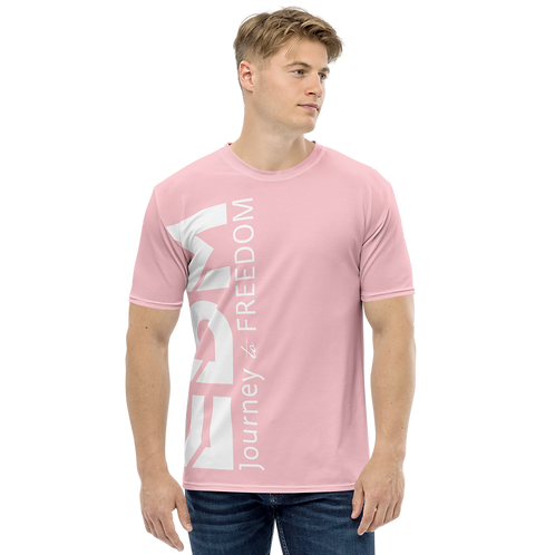 Men's T-shirt Pink - EDM Journey to Freedom Large Print - White