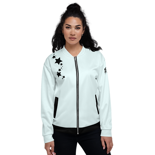Women's Unisex Fit Bomber Jacket - EDM J to F Ice Blue - Black Star