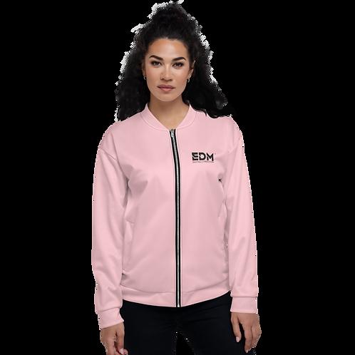 Women's Unisex Fit Bomber Jacket - EDM Journey to Freedom Baby Pink / Black