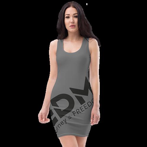 Body Con Dress - Dark Grey EDM Journey to Freedom No wings Print - Black