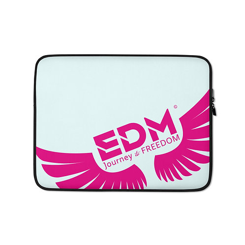 "Ice Blue Laptop Sleeve - 13"", 15"" - EDM Journey to Freedom Print - Hot Pink"