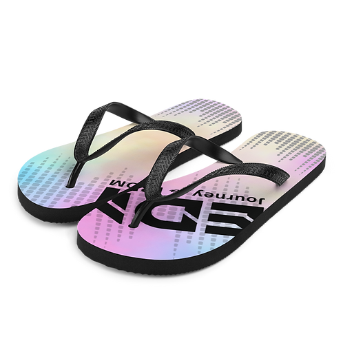 Women's Flip-Flops Baby Pink EDM J to F Sound Bars Print - Tye Dye Pastel