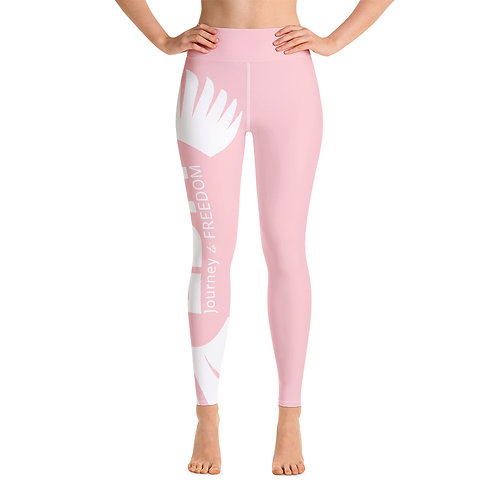 Women's Yoga Leggings Baby Pink - EDM Journey to Freedom Print Style 2 - White