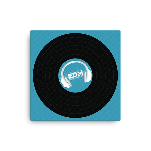 Square Canvas 12x12 / 16x16  - EDM J to F Record - Teal Blue