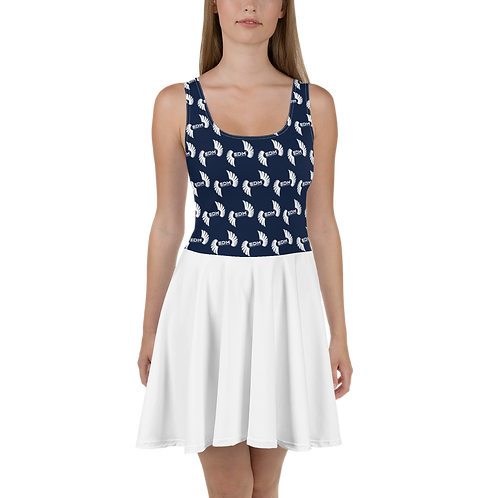 Skater Dress EDM J to F Top Pattern Print White - Navy / White