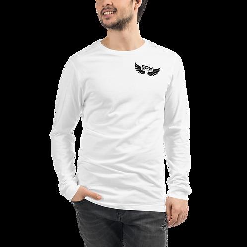 Mens Long Sleeve T-Shirt - EDM J to F Wings Logo Black - White