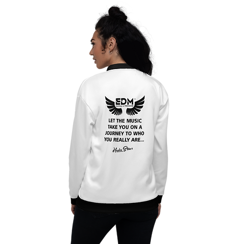 Women's Unisex Fit Bomber Jacket - EDM J to F Journey Slogan Black - White