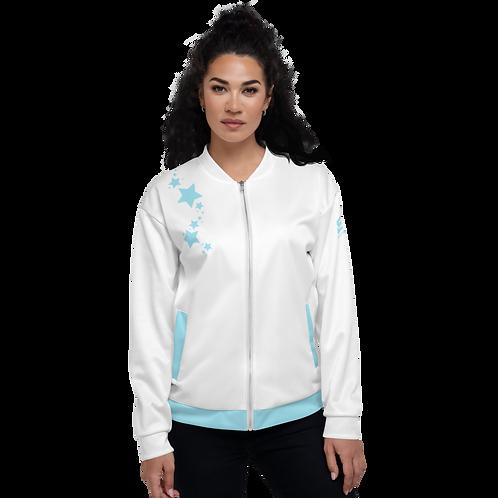 Women's Unisex Fit Bomber Jacket - EDM J to F White - Sky Blue Star