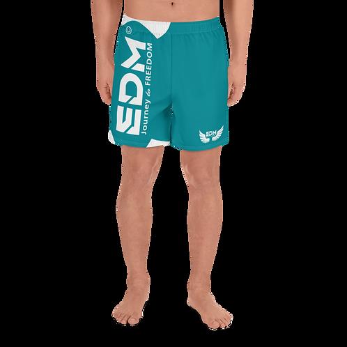 Men's Long Shorts - EDM J to F White - Green Teal