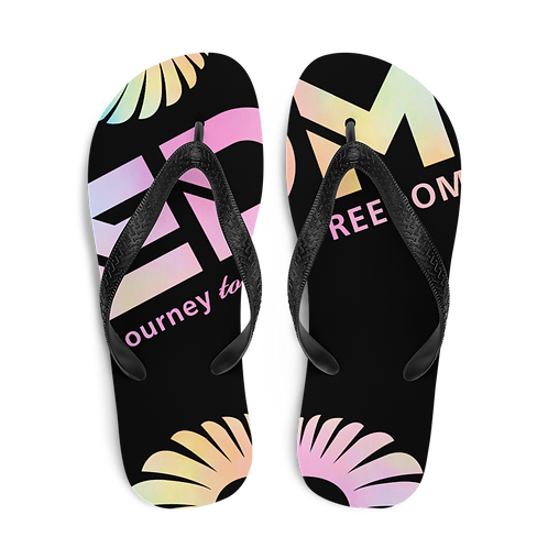 Womens Unisex Flip-Flops EDM J to F Tye Dye Logo - Black