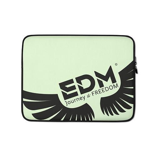 "Light Green Grey Laptop Sleeve - 13"", 15"" - EDM Journey to Freedom Print - Black"