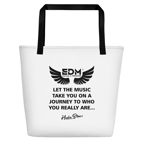 Beach Bag - EDM J to F Slogan Print Black - White