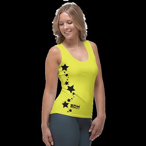 Women's Vest - EDM J to F Black Star - Lime Yellow