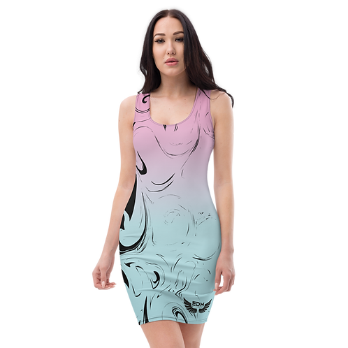 Body Con Dress - EDM J to F Pink/Blue Gradient Swirl - Black