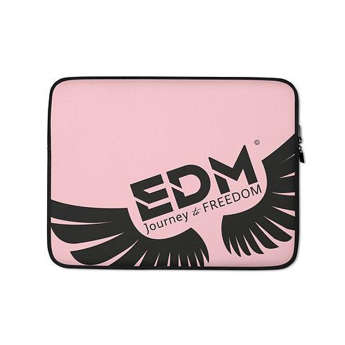 "Baby Pink Grey Laptop Sleeve - 13"", 15"" - EDM Journey to Freedom Print - Black"