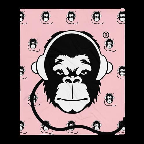 Fleece Throw Blanket - GS Music Academy Ape DJ Large & Pattern - Pink