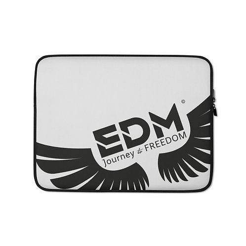 "Light Grey Laptop Sleeve - 13"", 15"" - EDM Journey to Freedom Print - Black"