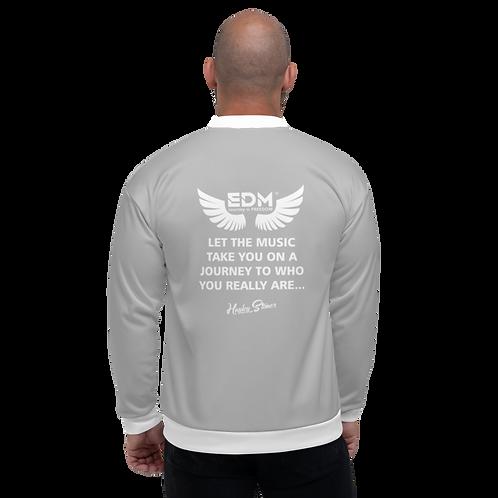 Women's Unisex Fit Bomber Jacket - EDM J to F Journey Slogan White - Grey