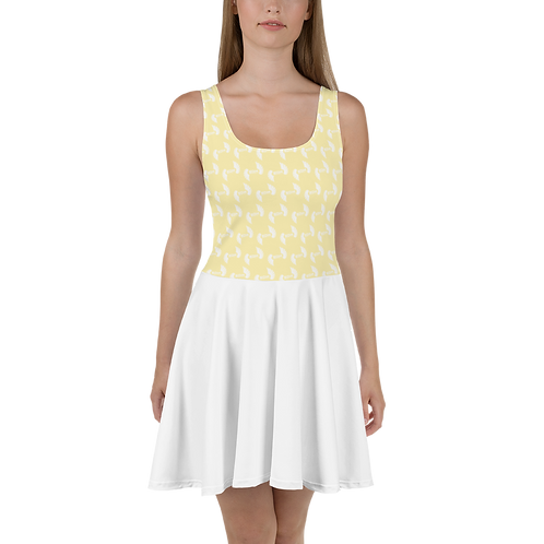 Yellow / White Skater Dress EDM Journey to Freedom Top Pattern Print - White