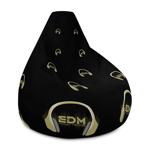 Bean Bag Chair Cover - EDM J to F Gold Headphone Logo - Black