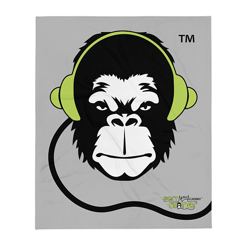 Fleece Throw Blanket - GS Music Academy Ape DJ - Grey