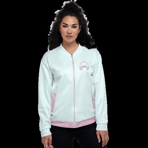 Women's Unisex Fit Bomber Jacket - EDM J to F - Pale Pink DJ Style - Ice Blue